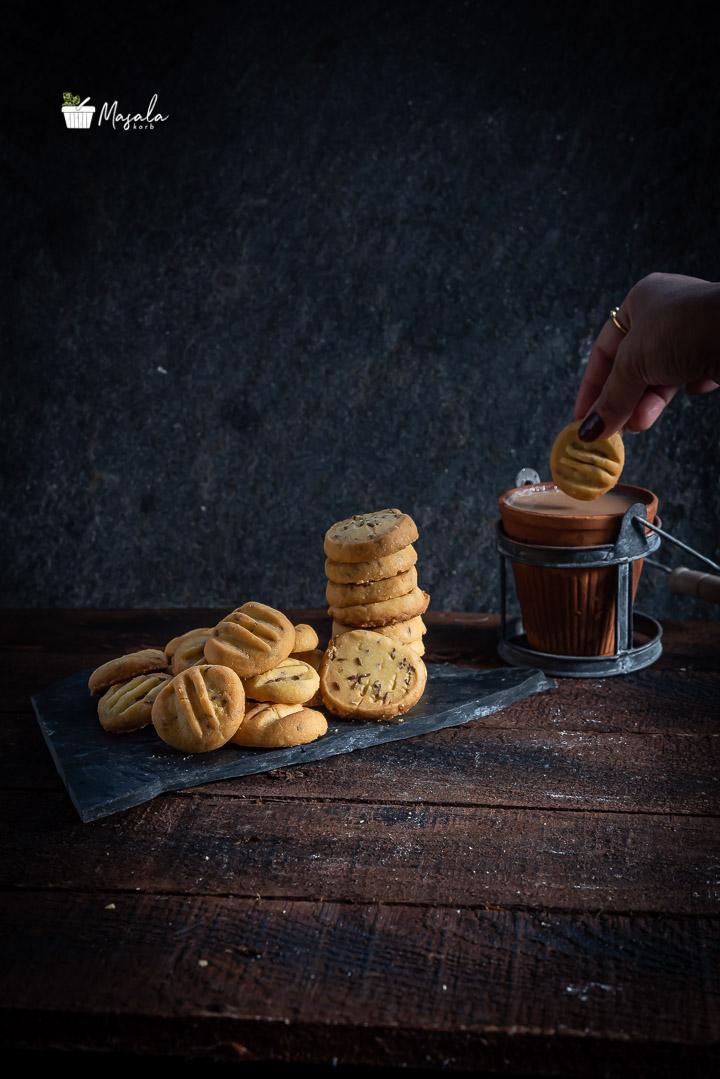 Dipping jeera biscuit in masala Tea