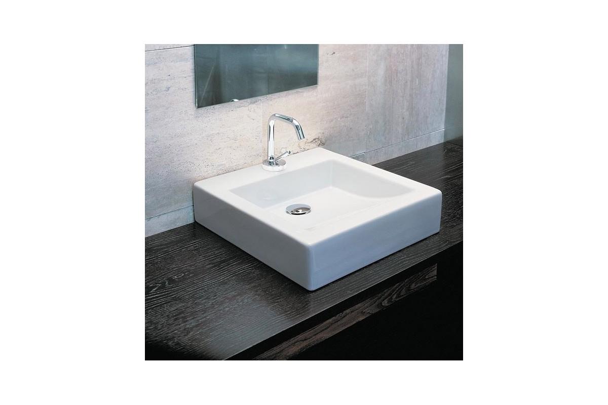 Vasque Quadra Class Carre A Poser En Ceramique Blanche Ma Salle De Bain Design