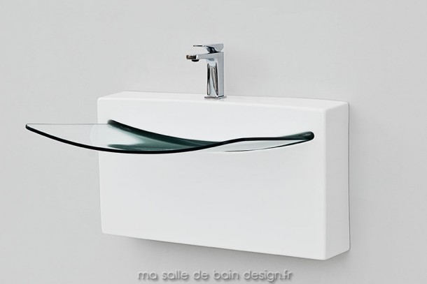 Vasque Suspendue Crystal Wall En Ceramique Blanche Et Verre Masalledebaindesign Fr