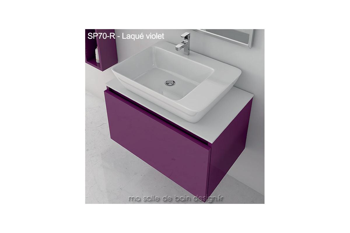 Meuble Sp70 R A Tiroir Suspendu Plan Solid Surface Et Lavabo Ceramique Pose Finition Bois Ou Couleur Laquee