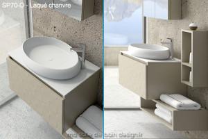Meuble Suspendu Avec Vasque Ovale Design En Solid Surface 70cm De Long