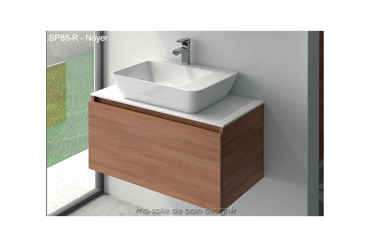 Lavabo Ceramique Sur Meuble A Tiroir Suspendu De 85cm De Large Plan Solid Surface Masalledebaindesign Fr