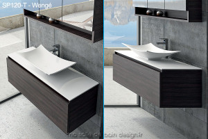 Large Meuble A Tiroir De 120cm Avec Vasque Coupelle Design En Solid Surface