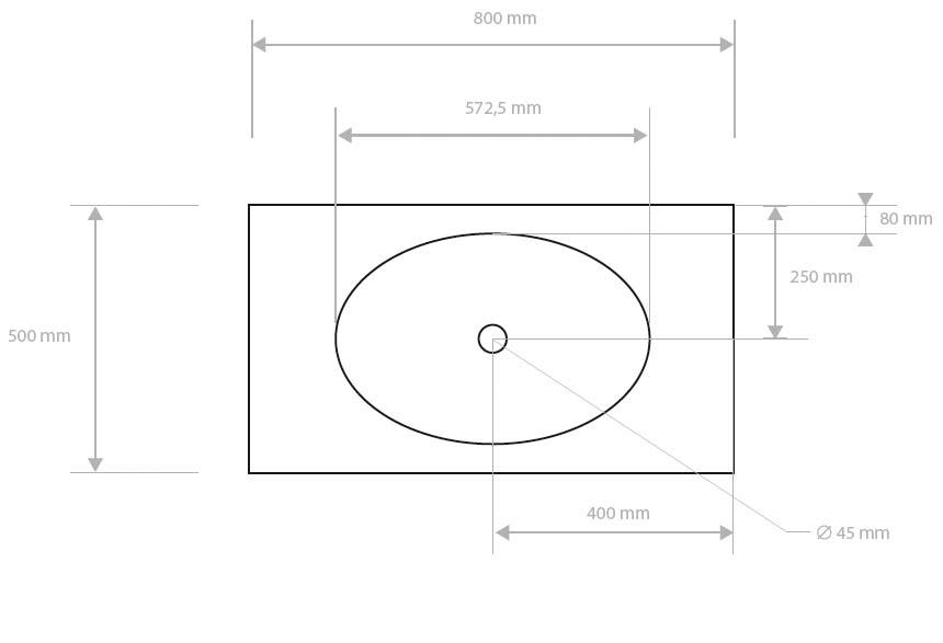 Plan Vasque COCON FINO 80 En Solid Surface