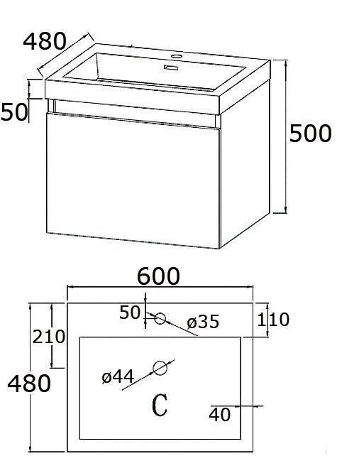 Meuble De Salle De Bain 60 Cm Suspendu Simple Vasque Primo