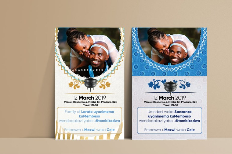 Shweshwe traditional wedding invitation cards