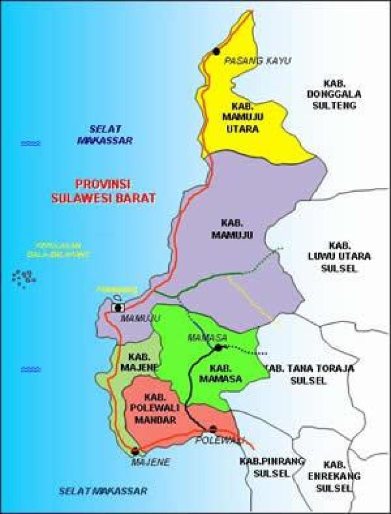 apa saja daftar kota di sulawesi barat