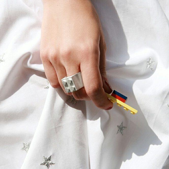 Big silver ring to be customized with Lego bricks _ maschio gioielli milano