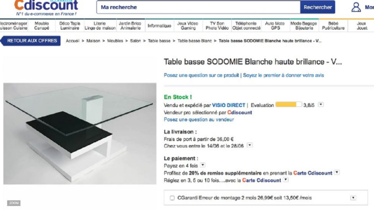 cdiscount propose une table basse sodomie