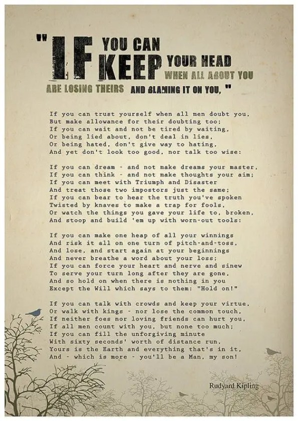 If - the inspirational poem by rudyard kipling