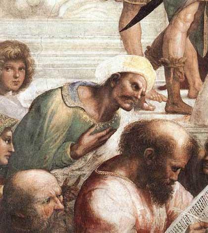 Averroè nella Scuola di Atene di Raffaello