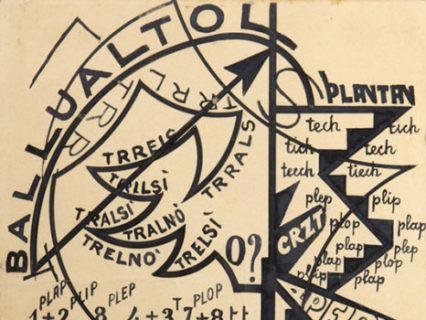 Giacomo Balla, Trelsì trelno, 1914, Inchiostro su carta, 27 x 20 cm, Collezione Marinetti - Foto di Matteo Zarbo