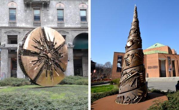 Arte contemporanea a Milano il Disco Solare di piazza Meda e la Torre a Spirale davanti al Teatro Strehler