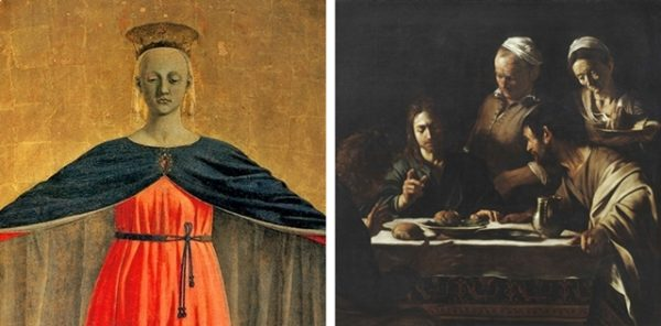 I classici a Milano - a sinistra: la MADONNA DELLA MISERICORDIA a Palazzo Marino a destra: ATTORNO A CARAVAGGIO alla Pinacoteca di Brera