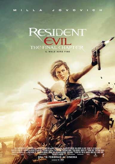 il poster italiano del film RESIDENT EVIL: FINAL CHAPTER