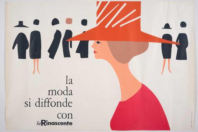 Lora Lamm, La moda si diffonde con La Rinascente, 1960, manifesto, offset, 100 x 70 cm, stampatore Industria Grafica Ugo Riboldi S.p.A., Milano Collezione privata