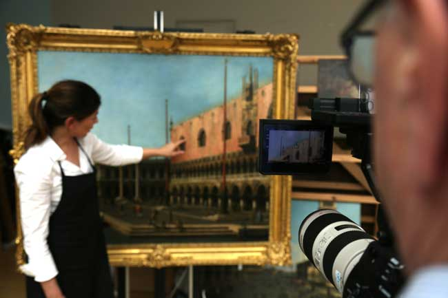 Canaletto a Venezia - filming in the conservation room at Windsor Castle - Æ EXHIBITION ON SCREEN