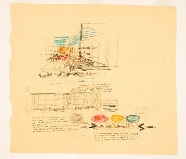 Louis Kahn, schizzi prospettici del Padiglione della Biennale e del Palazzo dei Congressi, Venezia, s.d. [1968 o 1969] Credit: Canadian Centre for Architecture, Montréal
