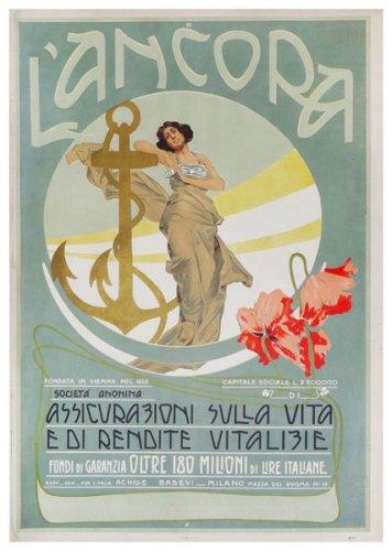 Mostra OND'EVITAR TEGOLE IN TESTA: Manifesto della compagnia italiana L'Ancora, ca. 1910