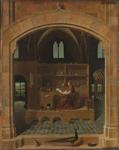 Antonello da Messina, San Girolamo nello studio, 1475 ca. Olio su tavola di tiglio, 45,7 x 36,2 cm. The National Gallery, Londra. Crediti fotografici: Courtesy of The National Gallery, London
