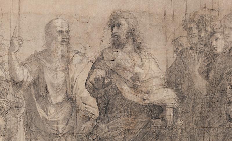 Scuola di Atene, particolari del cartone (c) Veneranda Biblioteca Ambrosiana, Mondadori Portfolio