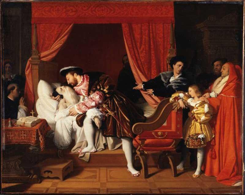 Jean Auguste Dominique Ingres, La morte di Leonardo da Vinci, 1818. Olio su tela, 40 x 50,5 cm. Musée des Beaux-Arts de la Ville de Paris, Petit-Palais. Courtesy of Petit Palais/Roger-Viollet