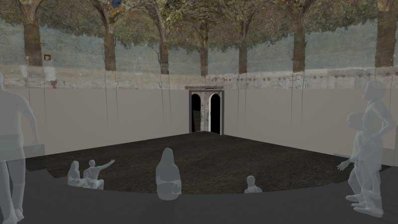 """Rendering proiezione multimediale Progetto di Culturanuova s.r.l. - Massimo Chimenti MOSTRA """"Sotto l'ombra del Moro. La Sala delle Asse"""""""