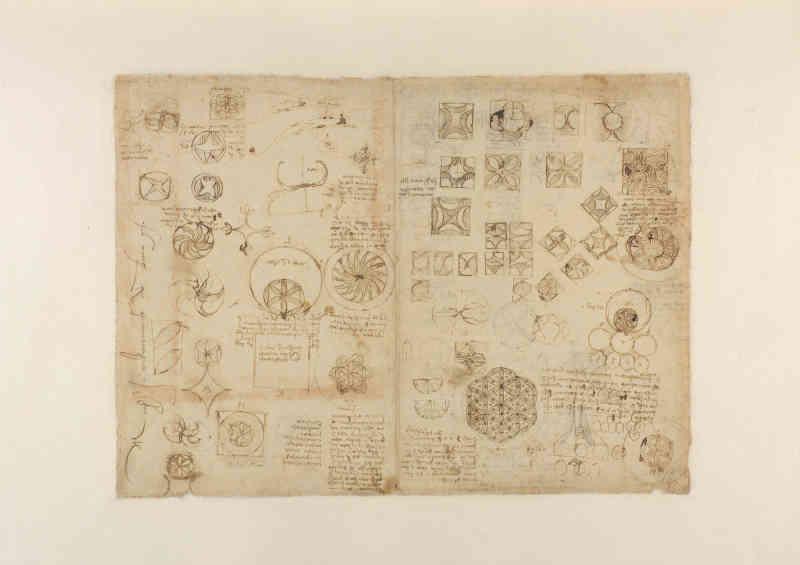 Leonardo da Vinci (1452-1519), Codice Atlantico (Codex Atlanticus), foglio 482 recto. Ricetta di una bevanda turca; lettera al re di Francia; disegni geometrici relativi alla trasformazione delle superfici curvilinee in rettilinee e viceversa. Copyright Veneranda Biblioteca Ambrosiana / Mondadori Portfolio