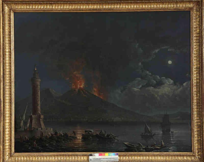 Carlo Bonavia, Veduta del golfo di Napoli della lanterna del molo con il Vesuvio in eruzione. Olio su tela, cm 103x125