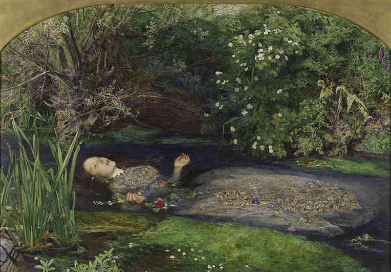 John Everett Millais (1829-1896), Ofelia, 1851-52. Olio su tela, cm 76,2 x 111,8. Tate: Presented by Sir Henry Tate 1894. ©Tate, London 2019