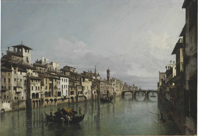 Bernardo Bellotto, L'Arno dal Ponte Vecchio fino a Santa Trinita e alla Carraia, Szépmúvészeti Múzeum di Budapest