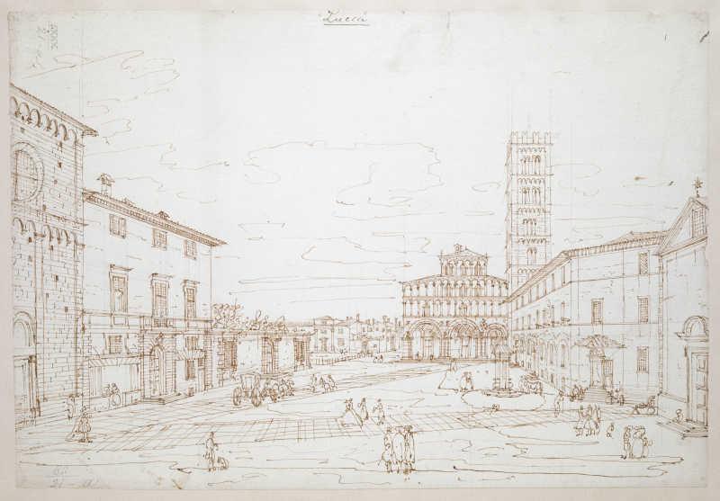 Bernardo Bellotto, Piazza San Martino con la cattedrale, Lucca, 1740, Londra, British Library