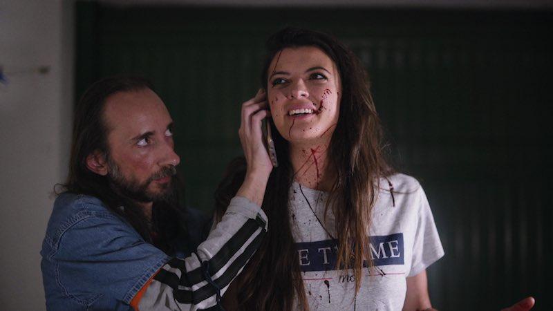 Alessandro Davoli e Michela Maridati sul set del film