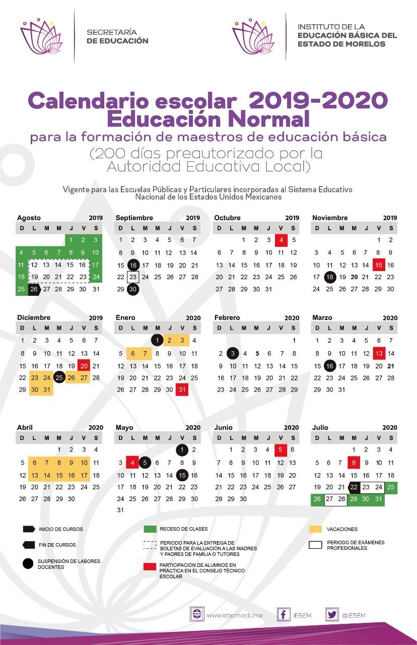 Calendario Julio Y Agosto 2020.Publica Iebem Calendario Escolar 2019 2020 Para Morelos