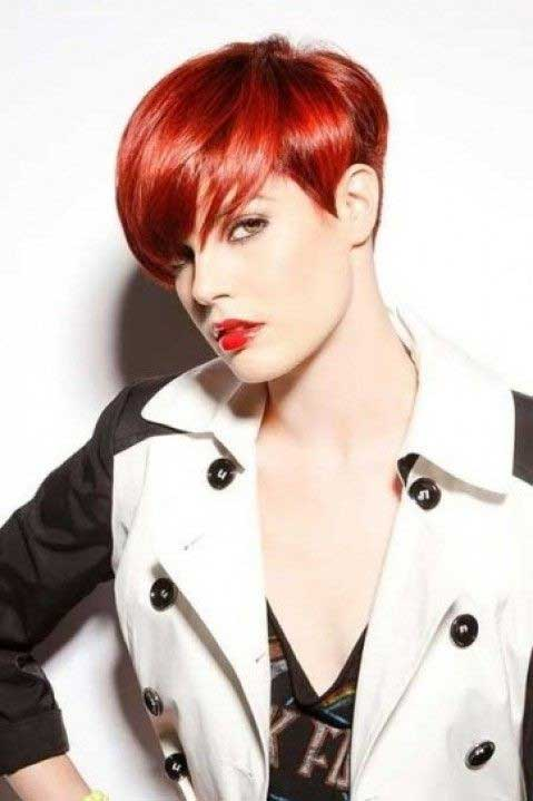 Short Red Hairstyles short a line haircut with bright red hair short red hairstyles Short Red Haircut For Straight Hair