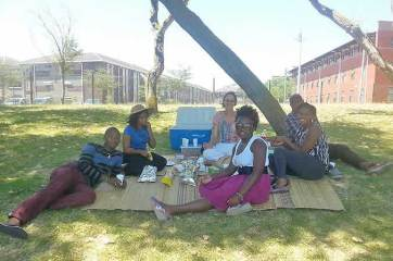 Celebrating the end of term with a picnic at the University of Cape Town (UCT) campus