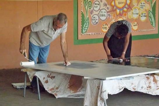 Paul Dibley, a highly skilled craftsman and Masicorp volunteer at work on the Ukhanyo Primary School Makeover project