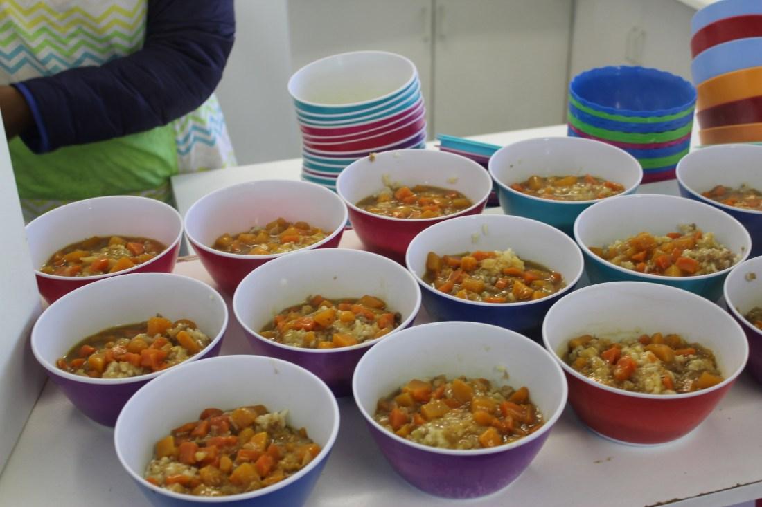 assortment of food bowls