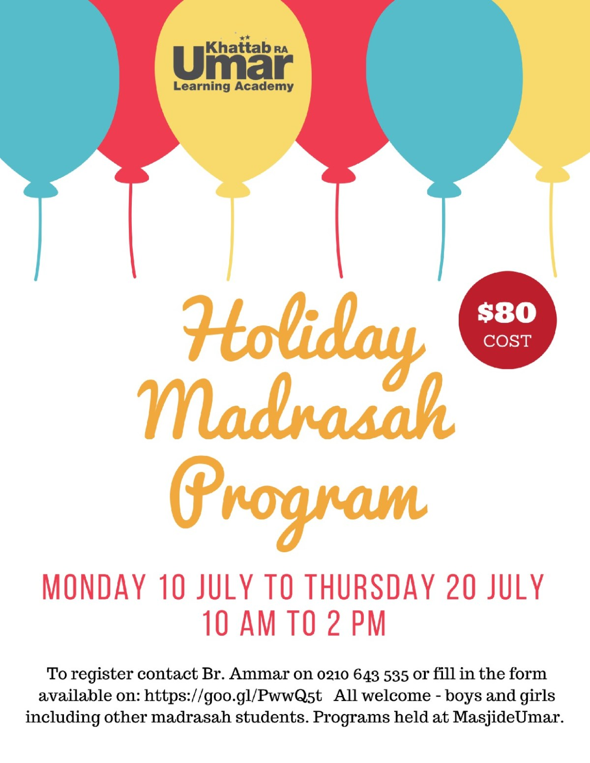 Holiday Madrasah Program Poster