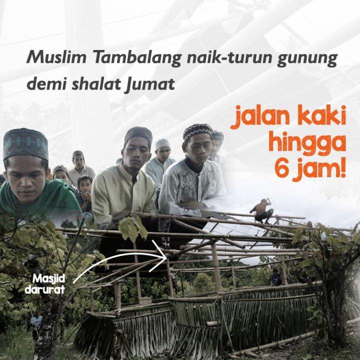 Ubah Gubuk Bambu Jadi Masjid Impian Muslim Tambalang