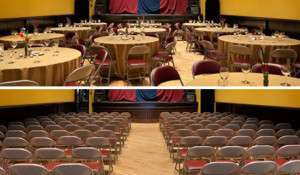 The Ned Rogers Theater in dining and theater seating configurations.