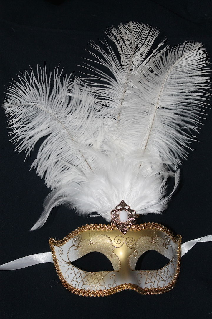 White and Gold Masquerade Mask  Feather Mask  Masks and Tiaras