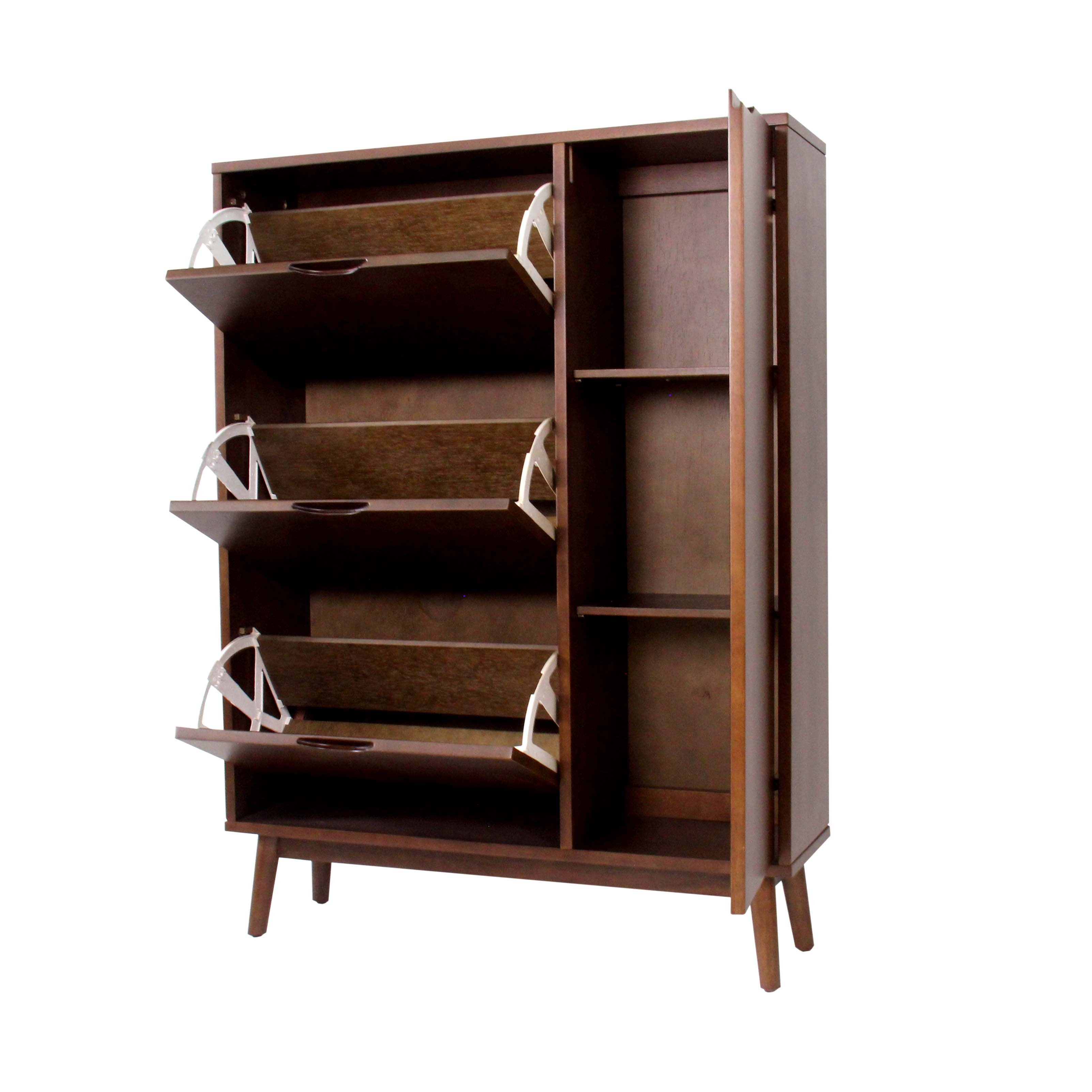 mason natural walnut solid wood shoe cabinet