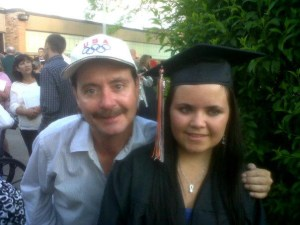 Tim with his daughter, Crystal, at her Ludington High School graduation.