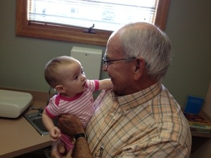 Dr. Hill examines 4-month-old Ava Huffman today.