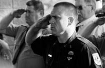 Hamlin Twp. Fire Lt. Matt Bryant, along with other firefighters, salute Allison.