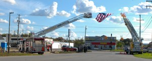 Ludington and Pere Marquette Township fire departments paid tribute with their ladder trucks.
