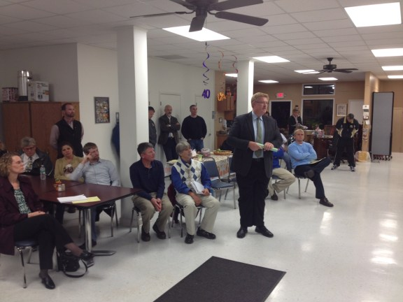 Resident Randy Wyman addresses the school board.