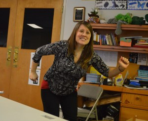 Teacher Lena Bluestein integrates music and dancing into the instruction.