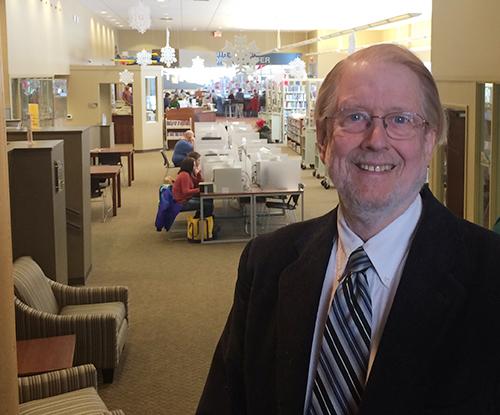 Bob Dickson in the Ludington branch library.
